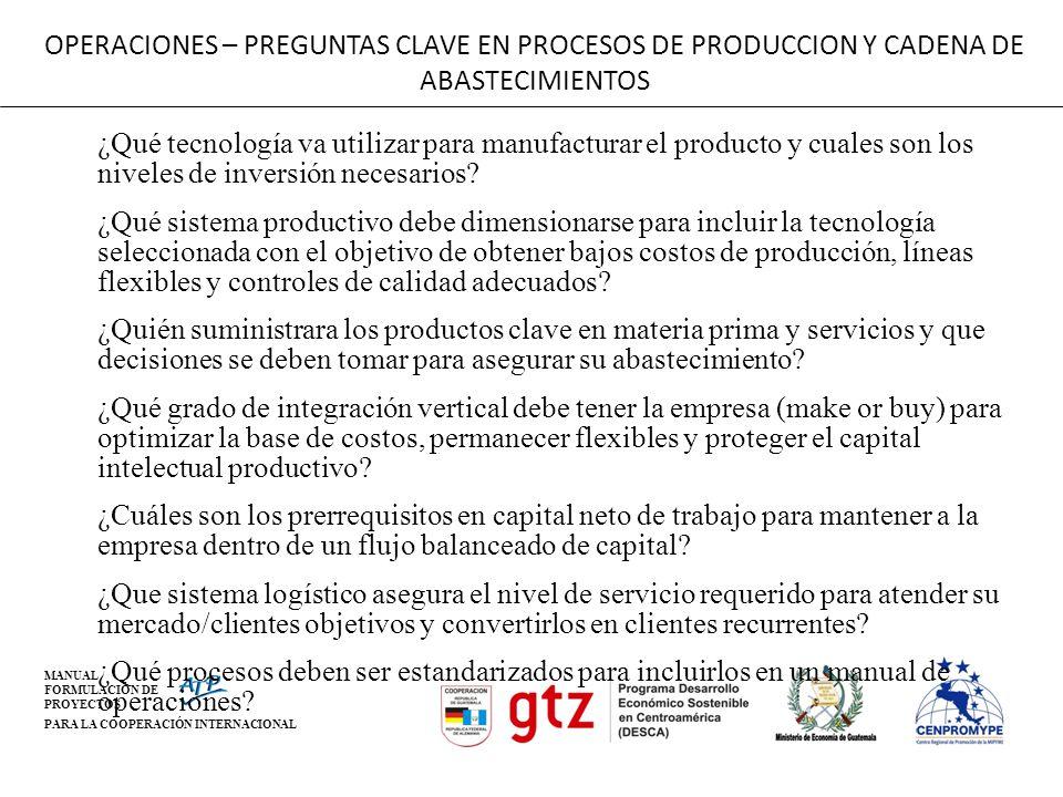 OPERACIONES – PREGUNTAS CLAVE EN PROCESOS DE PRODUCCION Y CADENA DE ABASTECIMIENTOS