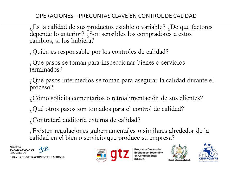 OPERACIONES – PREGUNTAS CLAVE EN CONTROL DE CALIDAD