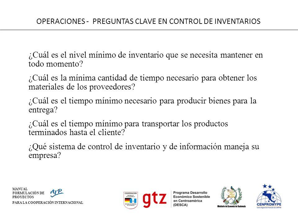 OPERACIONES - PREGUNTAS CLAVE EN CONTROL DE INVENTARIOS