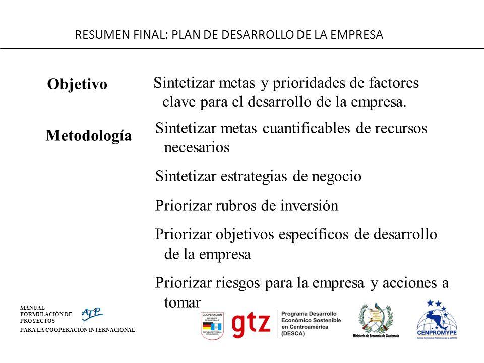 RESUMEN FINAL: PLAN DE DESARROLLO DE LA EMPRESA