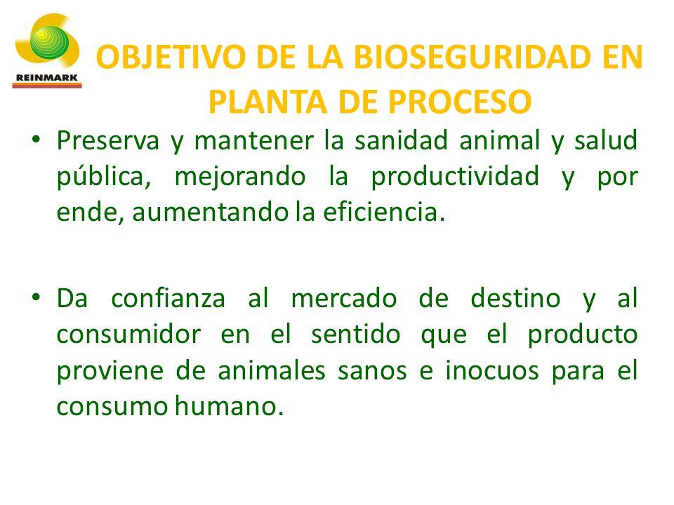 OBJETIVO DE LA BIOSEGURIDAD EN PLANTA DE PROCESO