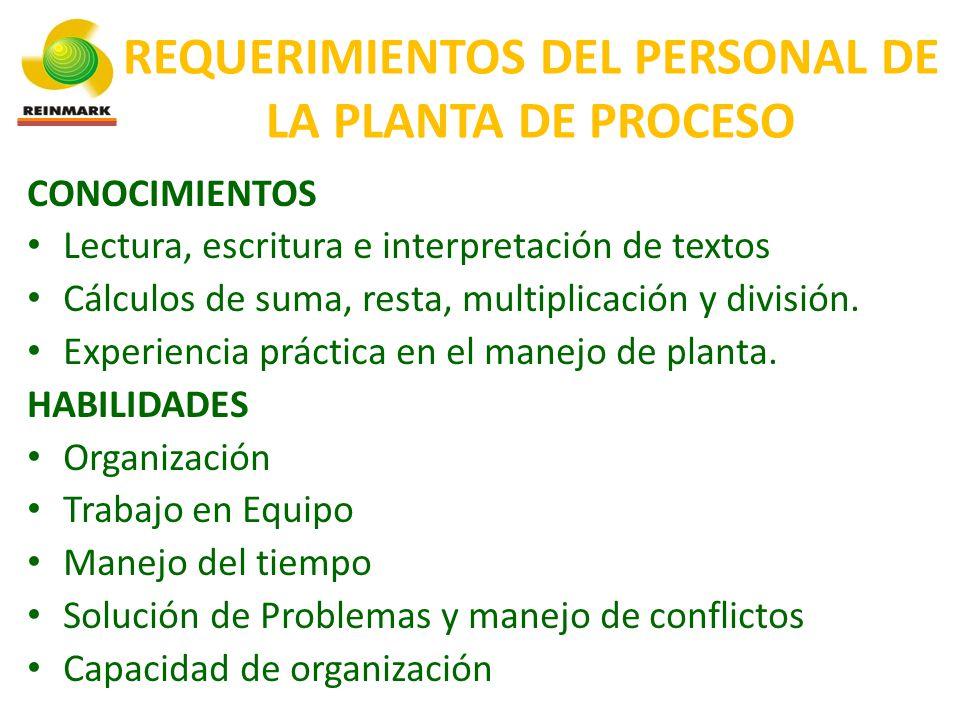 REQUERIMIENTOS DEL PERSONAL DE LA PLANTA DE PROCESO