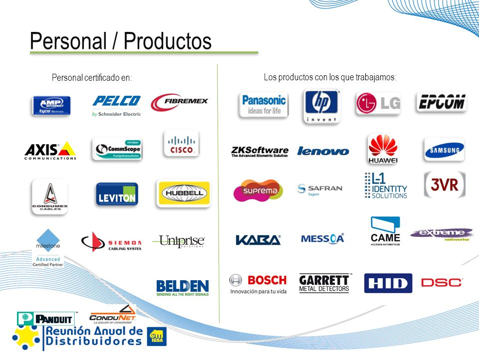 Personal / Productos Personal certificado en: