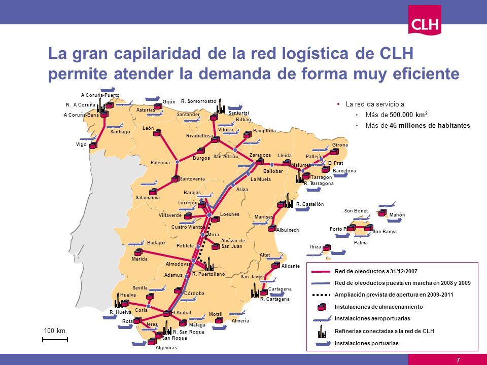 La gran capilaridad de la red logística de CLH permite atender la demanda de forma muy eficiente