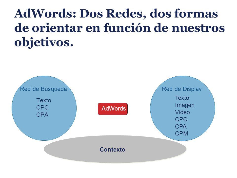 AdWords: Dos Redes, dos formas de orientar en función de nuestros objetivos.