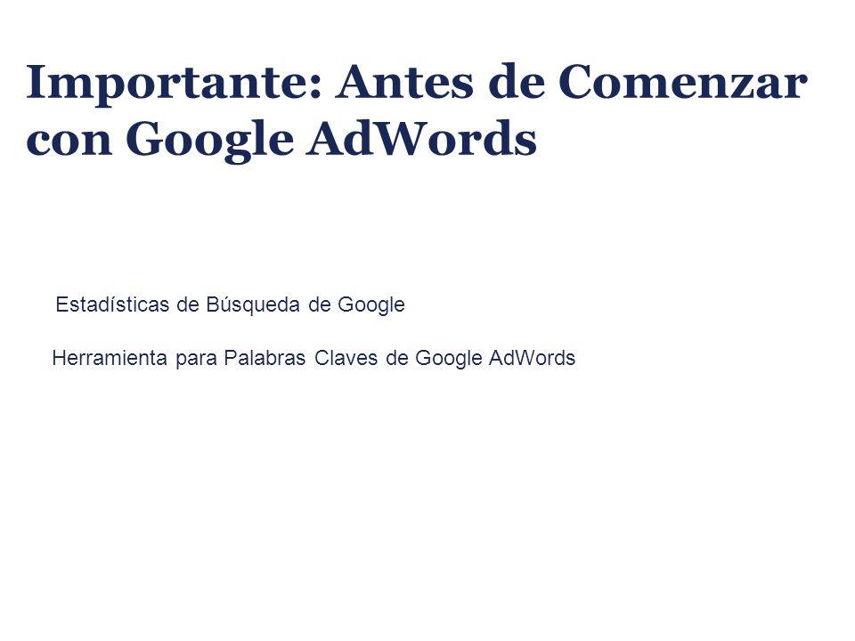 Importante: Antes de Comenzar con Google AdWords
