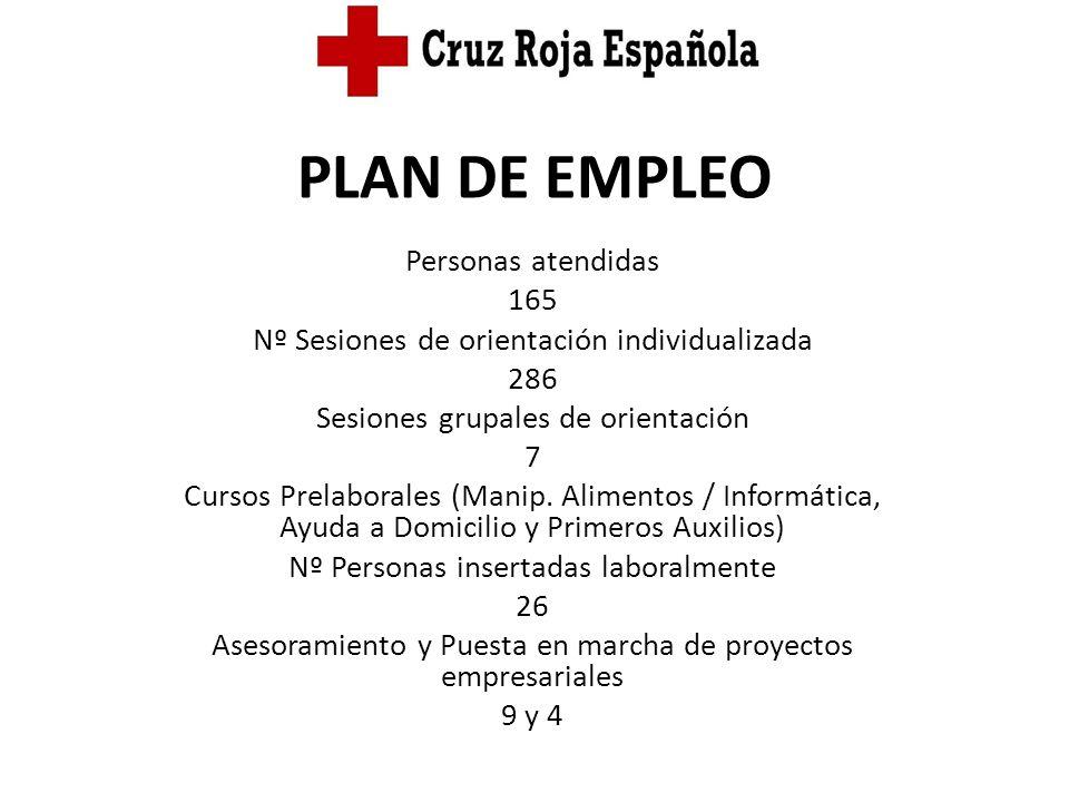 PLAN DE EMPLEO Personas atendidas 165