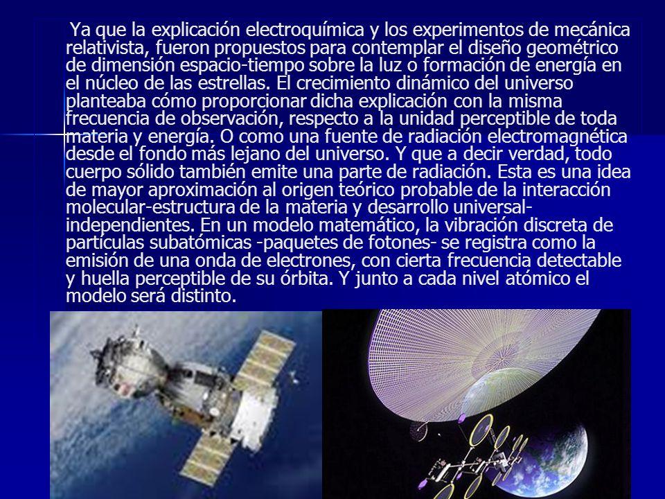 Ya que la explicación electroquímica y los experimentos de mecánica relativista, fueron propuestos para contemplar el diseño geométrico de dimensión espacio-tiempo sobre la luz o formación de energía en el núcleo de las estrellas.