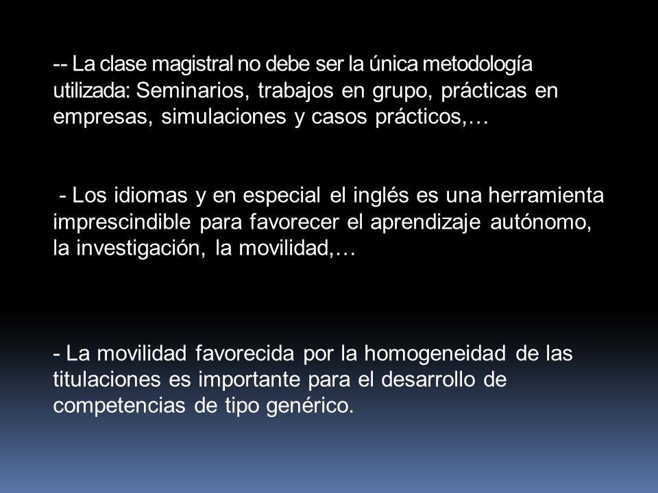 - La clase magistral no debe ser la única metodología utilizada: Seminarios, trabajos en grupo, prácticas en empresas, simulaciones y casos prácticos,…