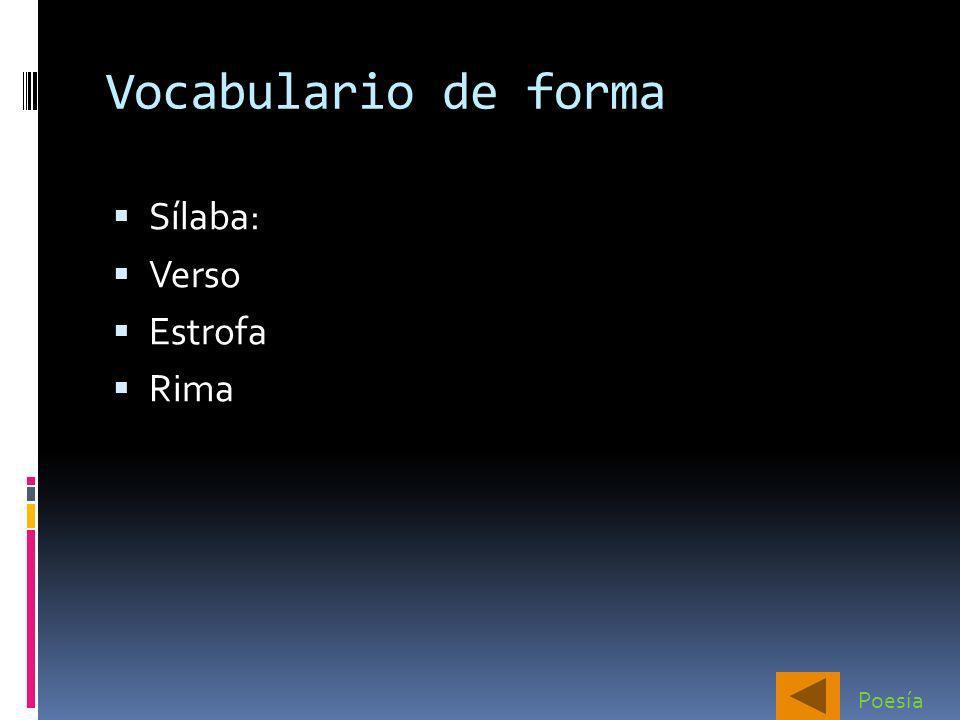Vocabulario de forma Sílaba: Verso Estrofa Rima Poesía