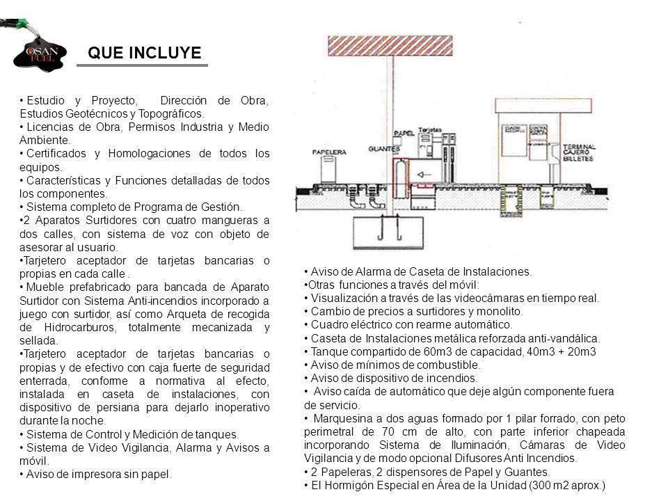 QUE INCLUYE Estudio y Proyecto, Dirección de Obra, Estudios Geotécnicos y Topográficos. Licencias de Obra, Permisos Industria y Medio Ambiente.