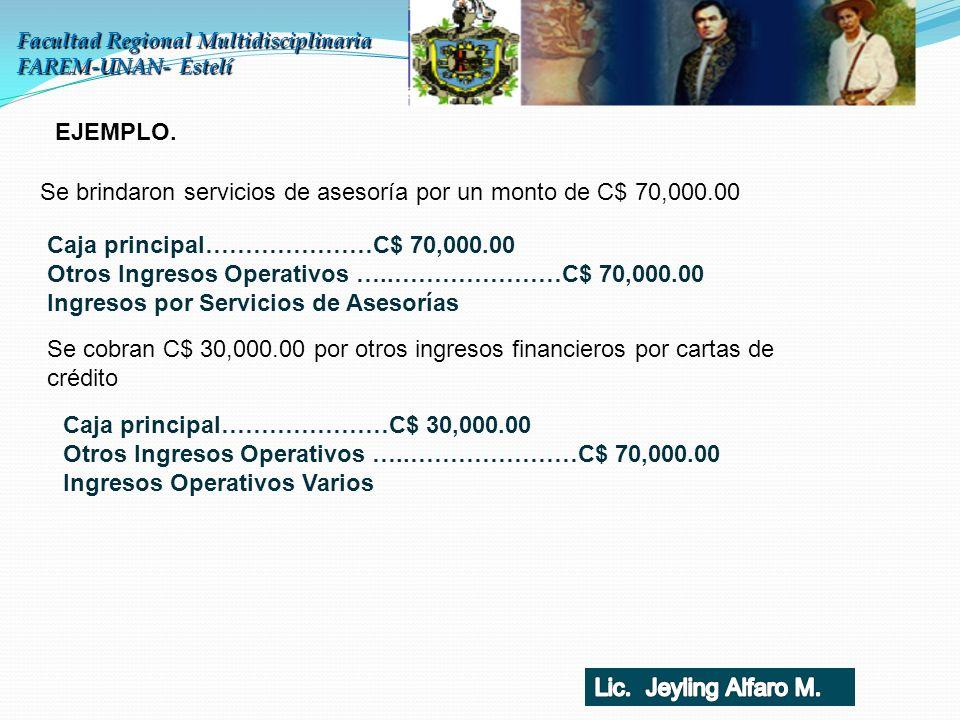 Se brindaron servicios de asesoría por un monto de C$ 70,000.00