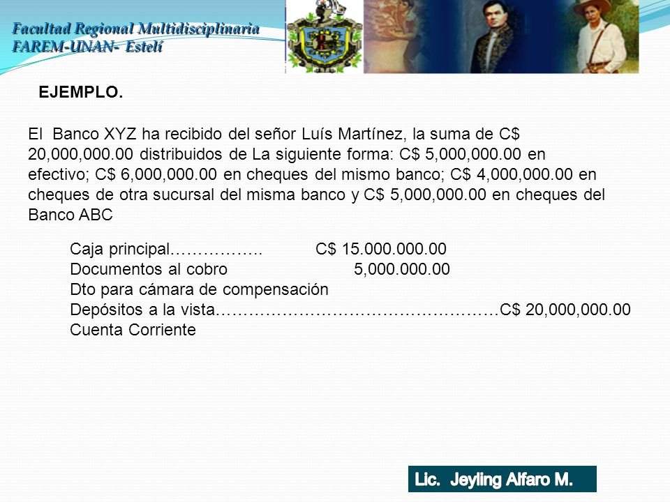Caja principal…………….. C$ 15.000.000.00