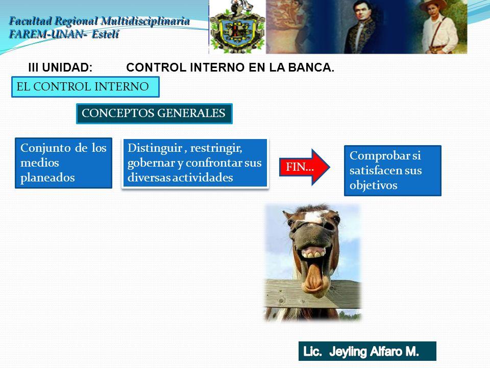 III UNIDAD: CONTROL INTERNO EN LA BANCA.
