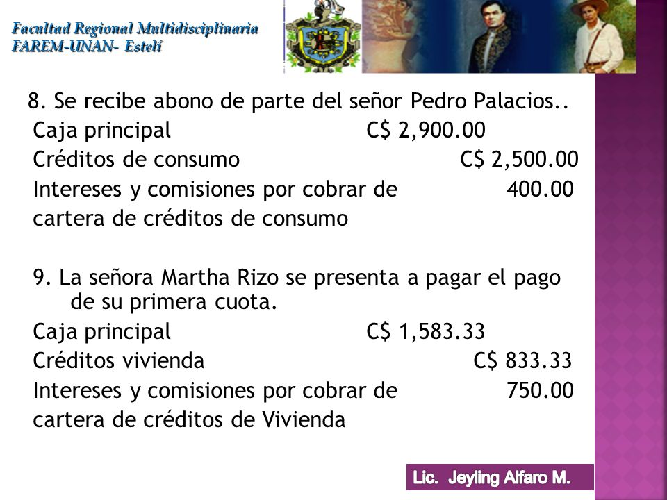 8. Se recibe abono de parte del señor Pedro Palacios..