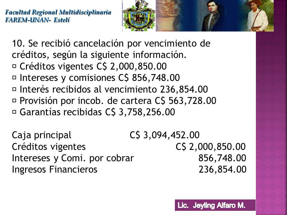  Intereses y comisiones C$ 856,748.00