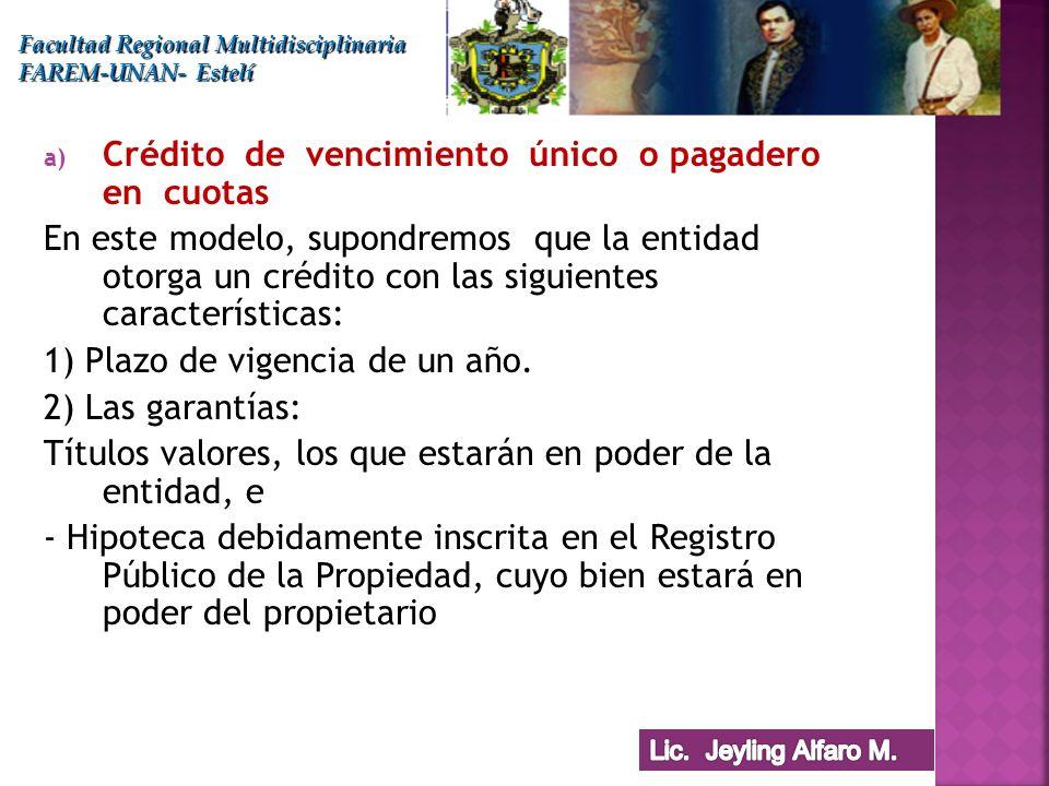Crédito de vencimiento único o pagadero en cuotas