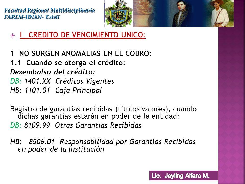 I CREDITO DE VENCIMIENTO UNICO: 1 NO SURGEN ANOMALIAS EN EL COBRO:
