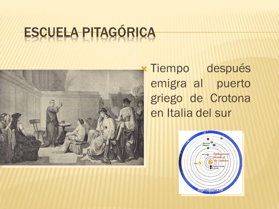 Escuela pitagórica Tiempo después emigra al puerto griego de Crotona en Italia del sur