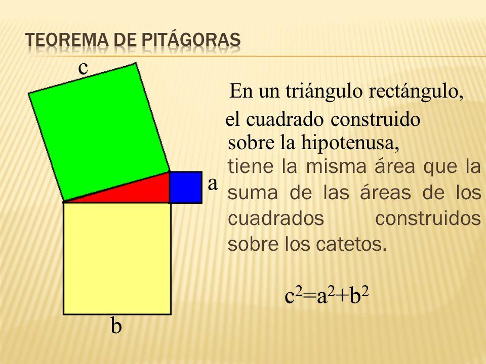 c a c2=a2+b2 b En un triángulo rectángulo,