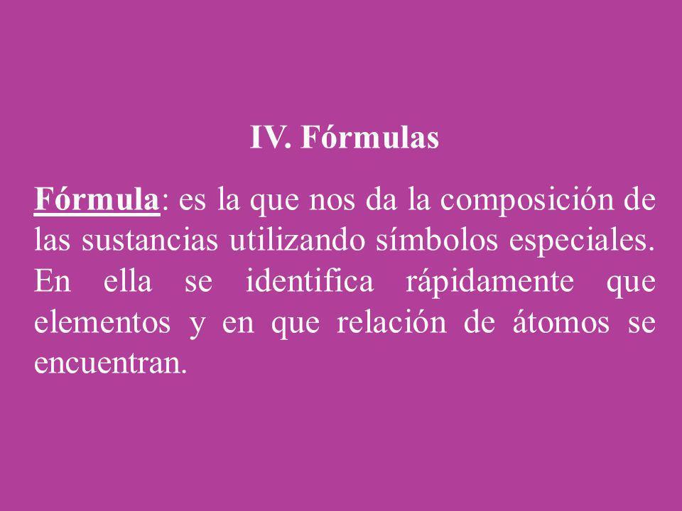 IV. Fórmulas