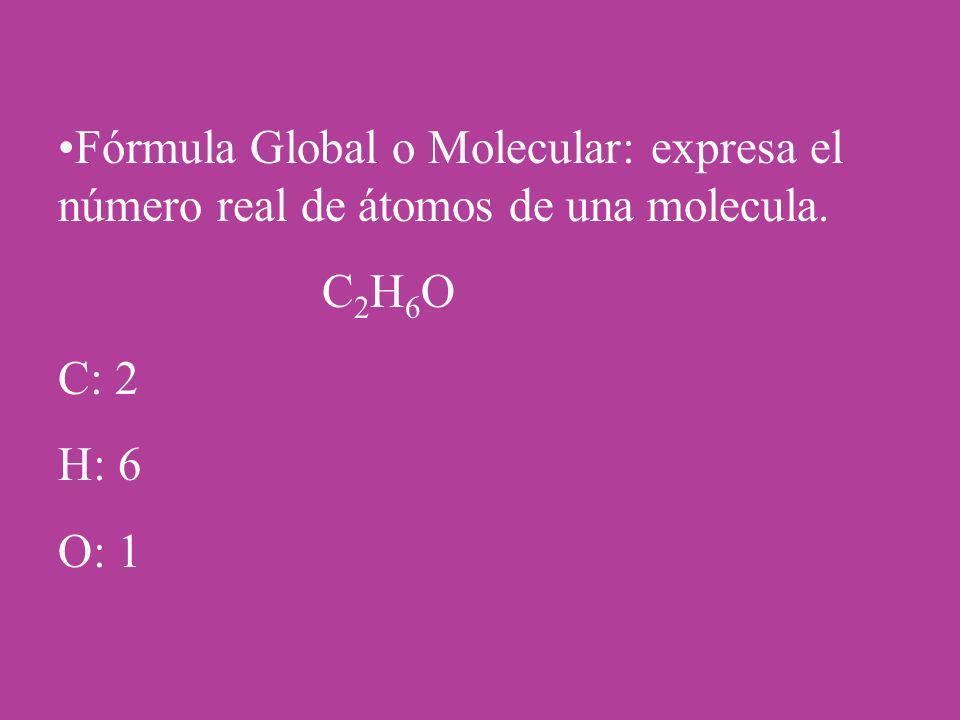 Fórmula Global o Molecular: expresa el número real de átomos de una molecula.
