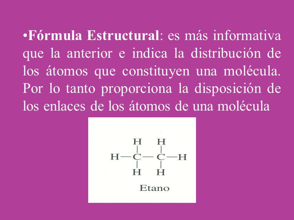 Fórmula Estructural: es más informativa que la anterior e indica la distribución de los átomos que constituyen una molécula.