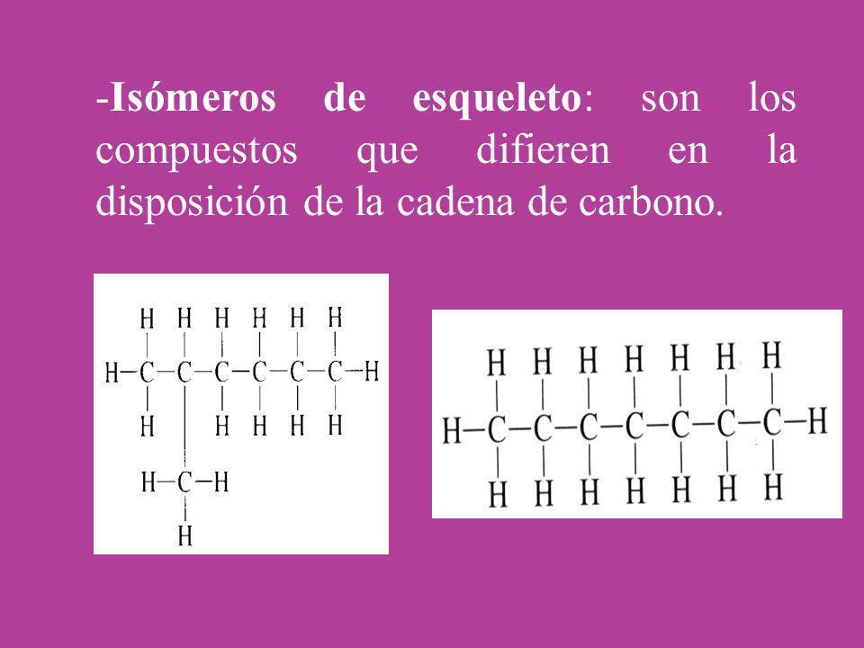 -Isómeros de esqueleto: son los compuestos que difieren en la disposición de la cadena de carbono.