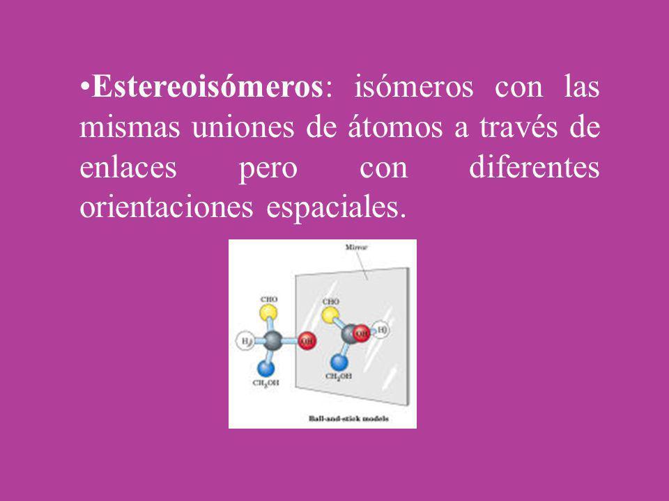 Estereoisómeros: isómeros con las mismas uniones de átomos a través de enlaces pero con diferentes orientaciones espaciales.