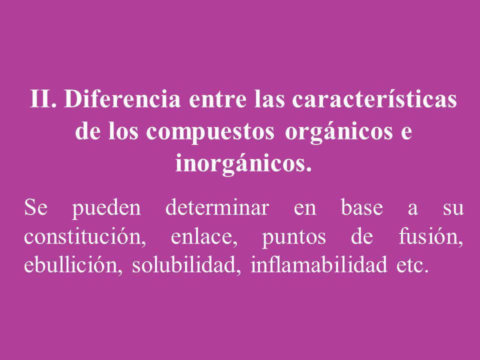 II. Diferencia entre las características de los compuestos orgánicos e inorgánicos.