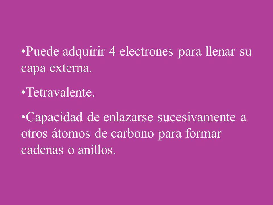 Puede adquirir 4 electrones para llenar su capa externa.