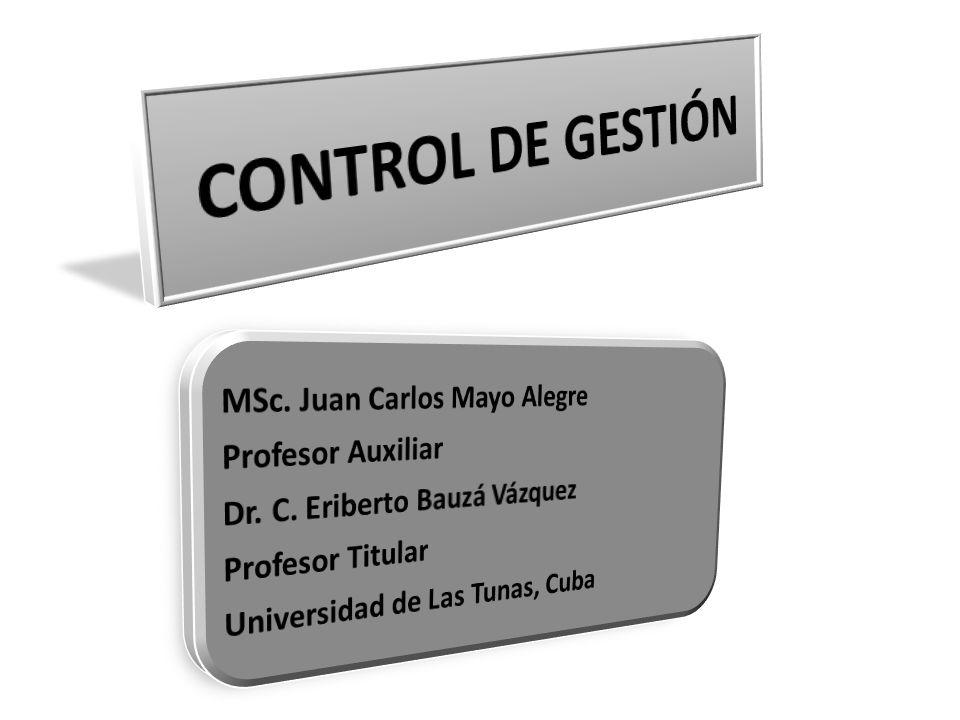 CONTROL DE GESTIÓN MSc. Juan Carlos Mayo Alegre Profesor Auxiliar