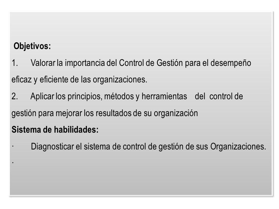 Objetivos: 1. Valorar la importancia del Control de Gestión para el desempeño eficaz y eficiente de las organizaciones.
