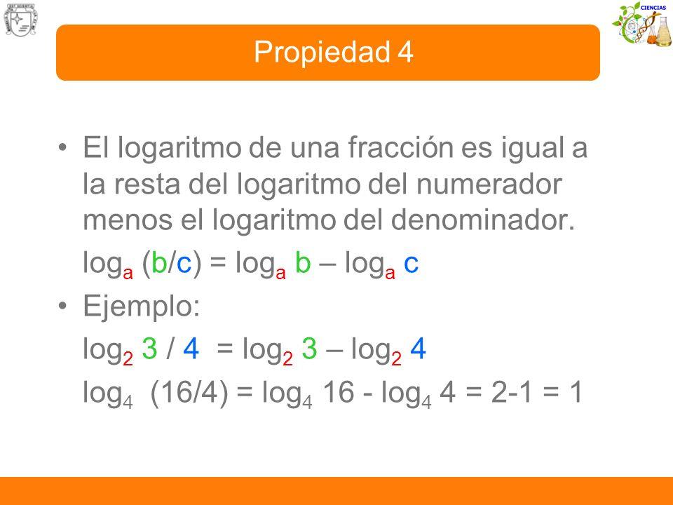Propiedad 4El logaritmo de una fracción es igual a la resta del logaritmo del numerador menos el logaritmo del denominador.