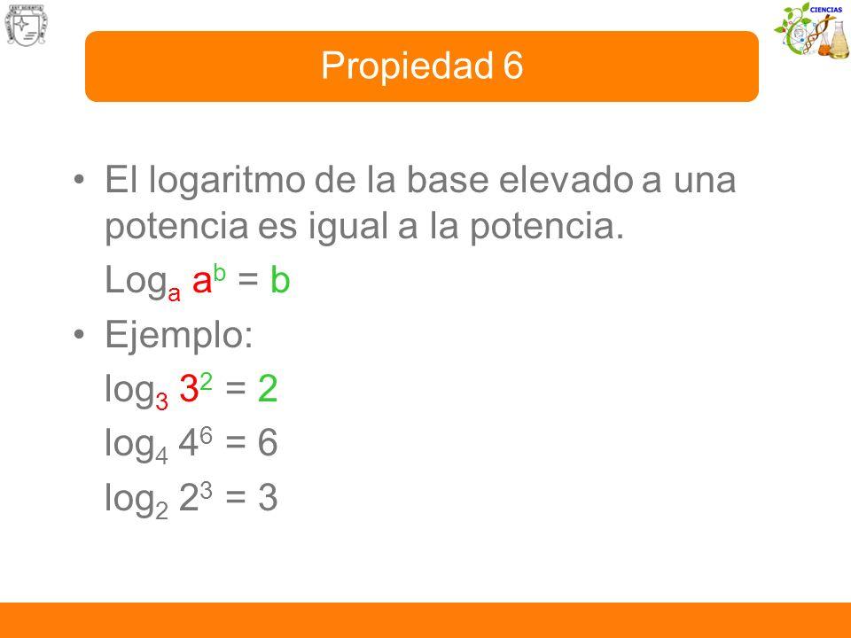 Propiedad 6El logaritmo de la base elevado a una potencia es igual a la potencia. Loga ab = b. Ejemplo: