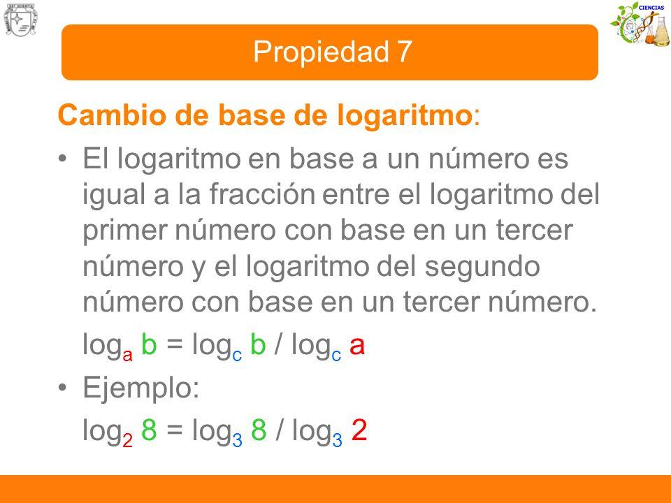 Propiedad 7 Cambio de base de logaritmo:
