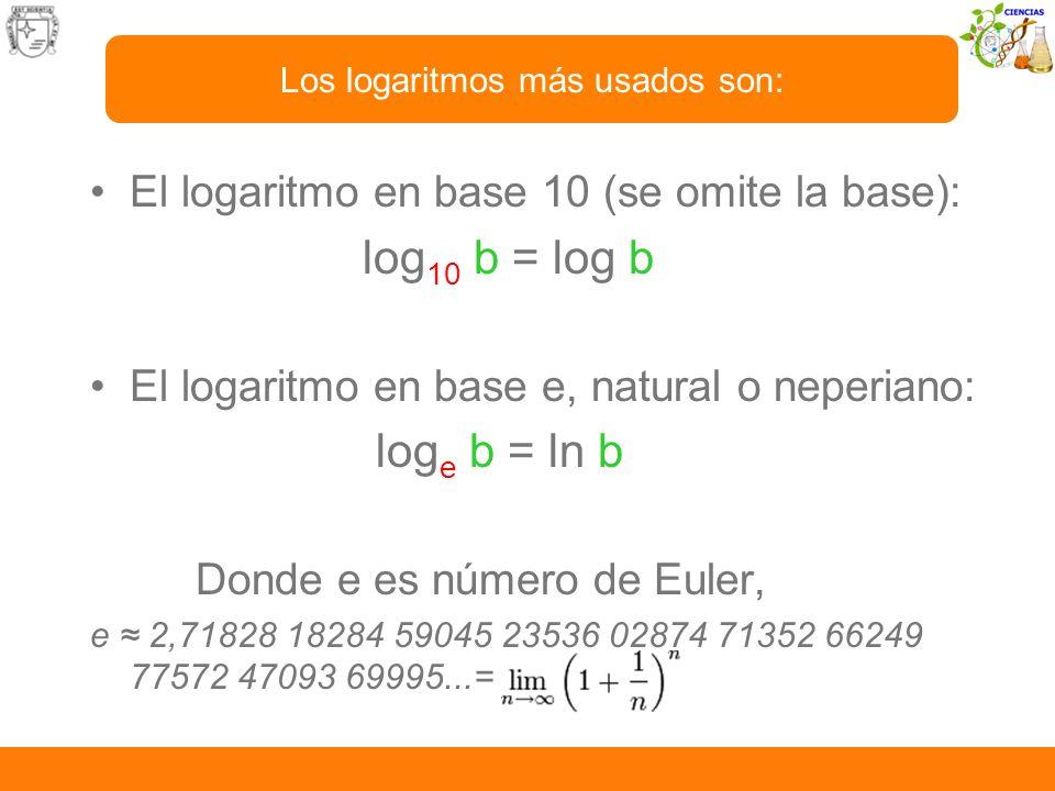 Los logaritmos más usados son: