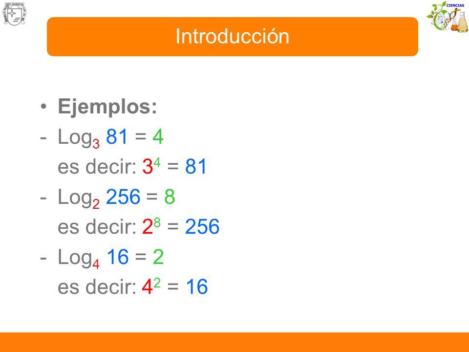 Introducción Ejemplos: - Log3 81 = 4. es decir: 34 = 81. - Log2 256 = 8. es decir: 28 = 256. - Log4 16 = 2.