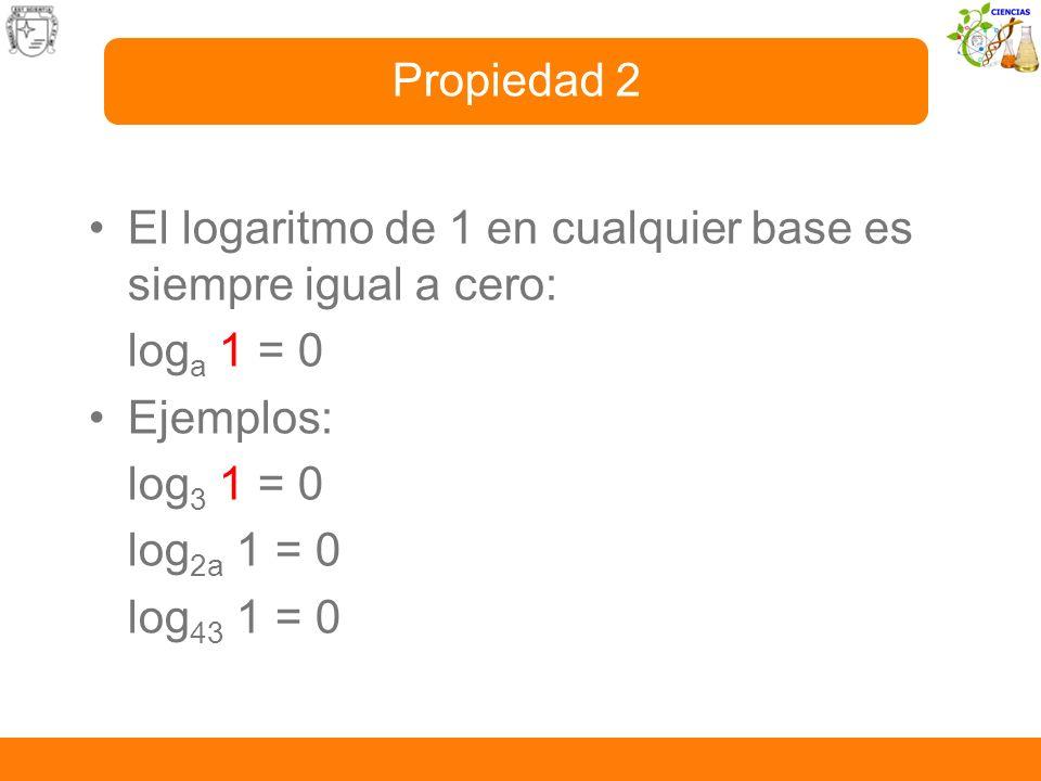 Propiedad 2El logaritmo de 1 en cualquier base es siempre igual a cero: loga 1 = 0. Ejemplos: log3 1 = 0.