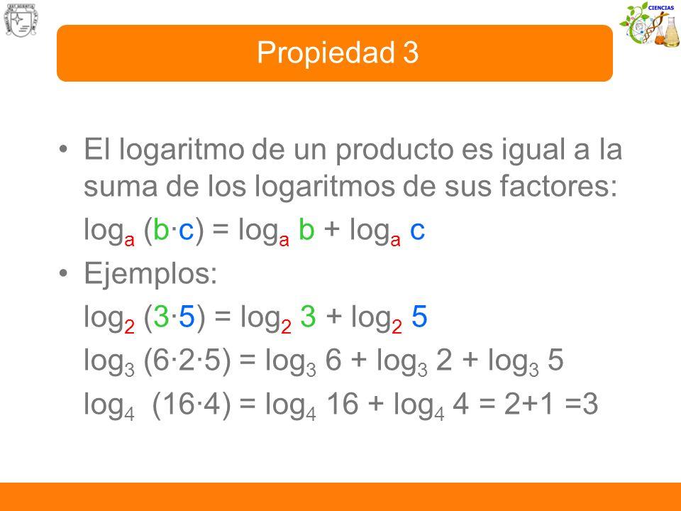 Propiedad 3 El logaritmo de un producto es igual a la suma de los logaritmos de sus factores: loga (b·c) = loga b + loga c.