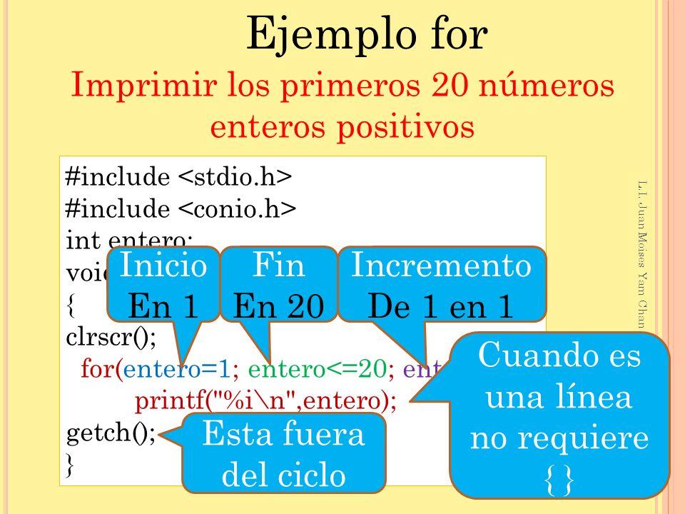 Ejemplo for Imprimir los primeros 20 números enteros positivos Inicio