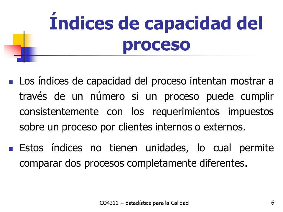 Índices de capacidad del proceso