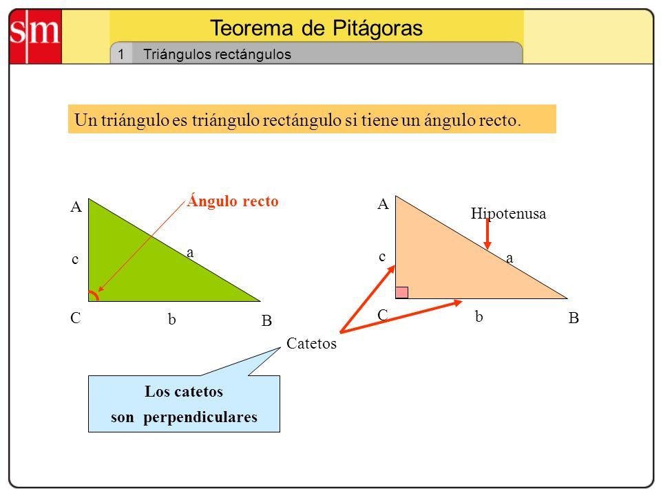 Teorema de Pitágoras 1. Triángulos rectángulos. Un triángulo es triángulo rectángulo si tiene un ángulo recto.