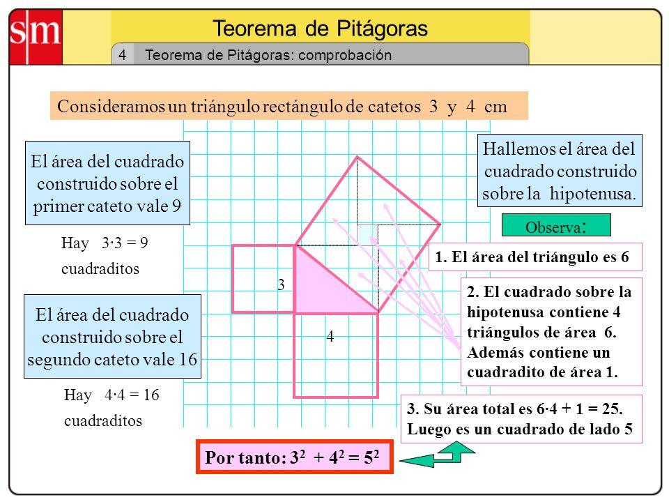 Teorema de Pitágoras 4. Teorema de Pitágoras: comprobación. Consideramos un triángulo rectángulo de catetos 3 y 4 cm.