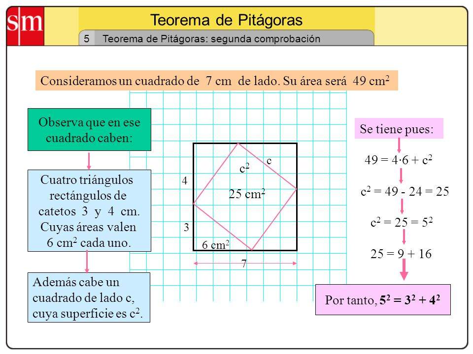 Teorema de Pitágoras 5. Teorema de Pitágoras: segunda comprobación. Consideramos un cuadrado de 7 cm de lado. Su área será 49 cm2.