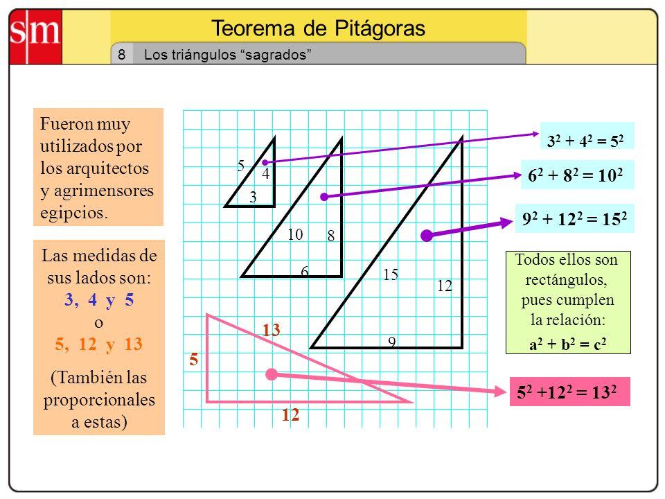 Teorema de Pitágoras 8. Los triángulos sagrados Fueron muy utilizados por los arquitectos y agrimensores egipcios.