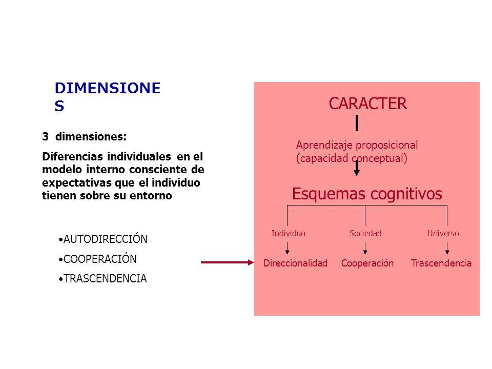 CARACTER Esquemas cognitivos DIMENSIONES 3 dimensiones: