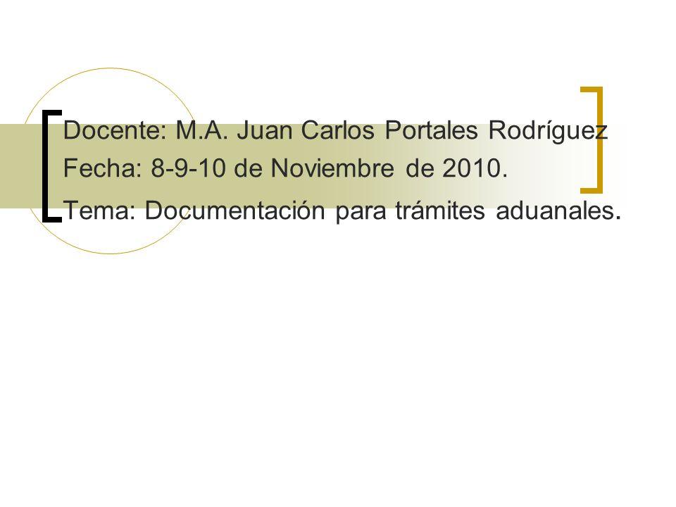 Docente: M.A. Juan Carlos Portales Rodríguez