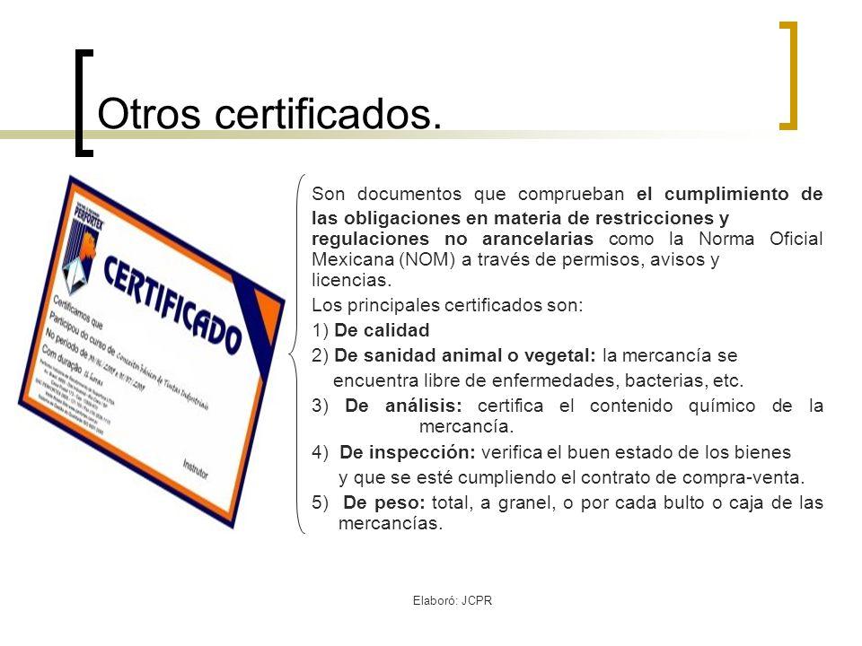 Otros certificados.