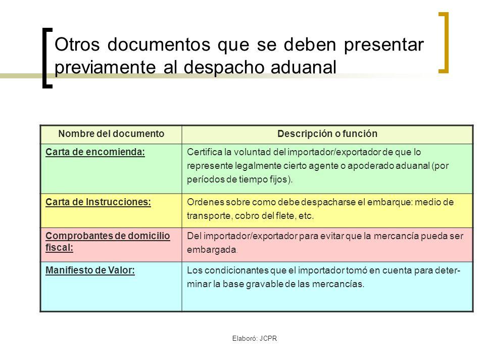 Otros documentos que se deben presentar previamente al despacho aduanal